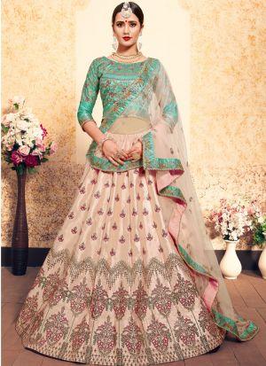Peach Embroidered Designer Lehenga Choli For Wedding