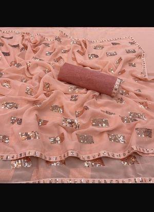 Peach Georgette Silk Sequence Saree