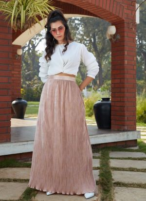 Peach Imported Skirt With Stylish Crop Top