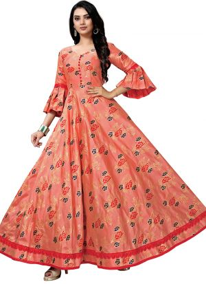 Peach Jacquard Design Fashionable Gown