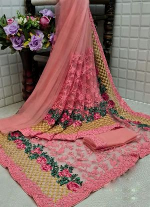 Peach Net Flower Embroidery Saree