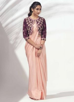 Peach Plain Saree With Readymade Embroidery Koti