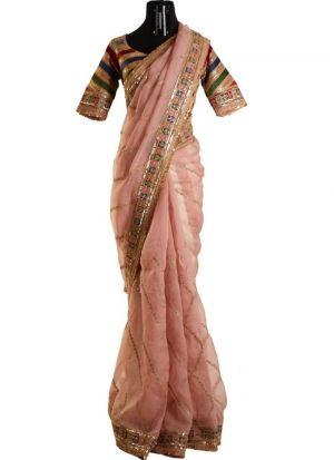 Peach Rajwadi Silk Sequence work Saree