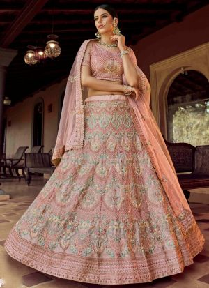 Peach Zari Resham Work Designer Lehenga Choli