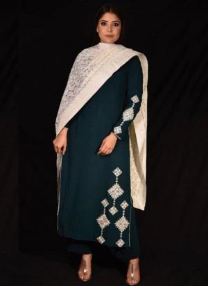 Peacock Green Color Georgette Dress With Dupatta