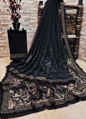 Perfect Black Embroidered Soft Net Saree
