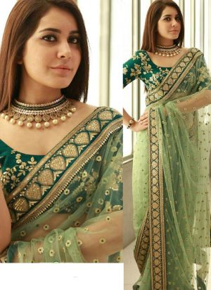 Picture of Splendid Light Green Naylon Net Designer Saree