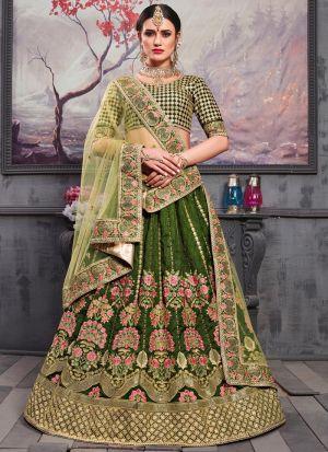 Pine Green Thai Silk Indian Bridesmaid Lehenga With Bridal Net Dupatta