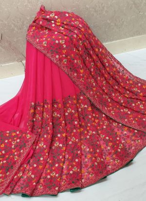 Pink 60 Gm Georgette Traditional Saree