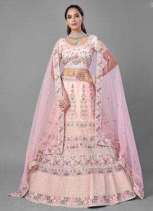 Pink Attractive Thread Work Lehenga Choli