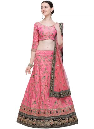 Pink Banarasi Silk Indian Wedding Lehenga Choli