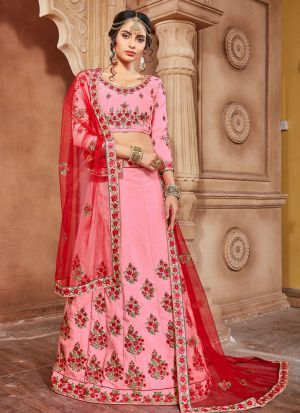 Pink Banarasi Silk Party Wear Lehenga Choli