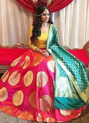 Pink Banglori Satin Printed Lehenga