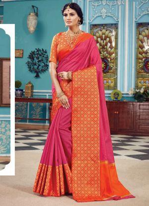 Pink Crystal Silk Designer Indian Saree