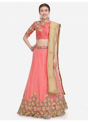 Pink Designer Wedding Lehenga Choli With Net Fabric
