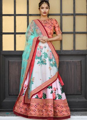 Pink Embroidered Partywear Designer Lehenga Choli With Net Dupatta