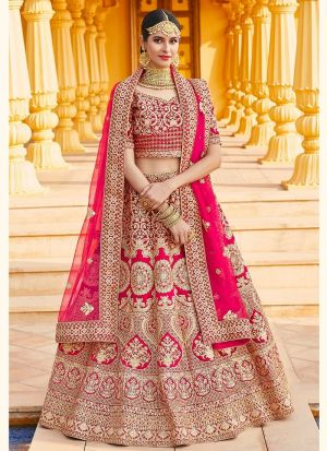 Pink Embroidery Bridal Lehenga Choli