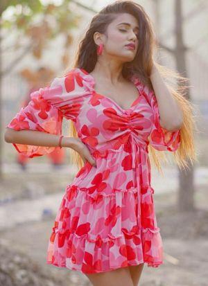 Pink Faux Georgette Printed Dress