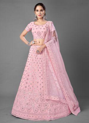 Pink Foil Mirror Work Lehenga Choli