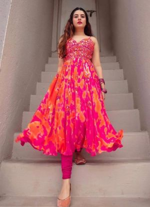 Pink Georgette Printed Salwar Suit For Girls