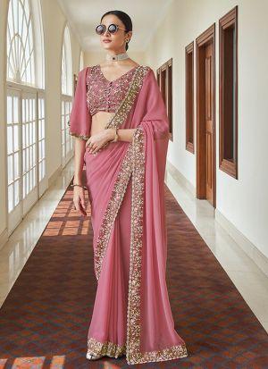 Pink Georgette Resham Work Saree