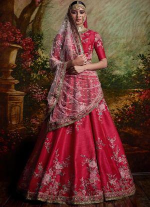 Pink Heavy Embroidery Designer Partywear Lehenga Choli