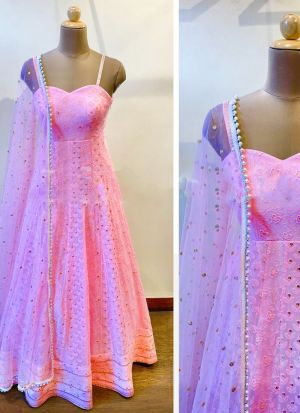 Pink Heavy Faux Georgette Salwar Suit