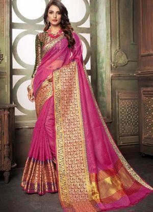 Pink Kota Doria Checks Fancy Designer Traditional Saree