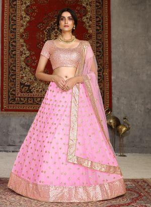 Pink Net Lehenga Choli For Party