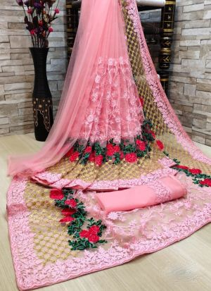 Pink Net Saree With Beautiful Piping On Border