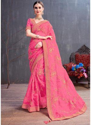 Pink Organza Embroidered Party Wear Designer Saree