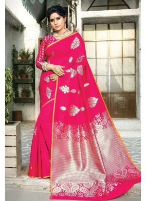Pink Paper Silk Festive Wear Traditional Saree