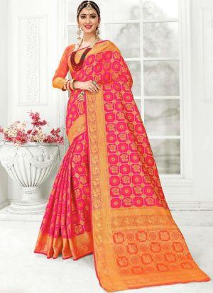 Pink Patola Silk Wedding Saree Collection