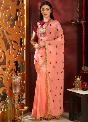 Pink Pure Georgette Embroidered Party Wear Designer Saree
