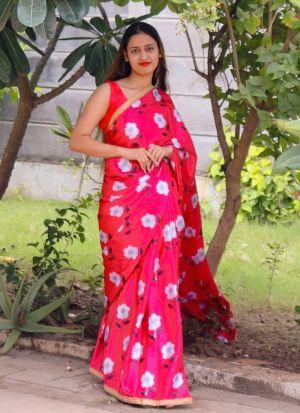 Pink Satin Silk Occasion Special Saree
