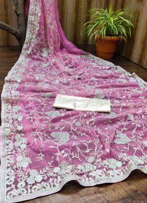 Pink Soft Net Embroidered Saree