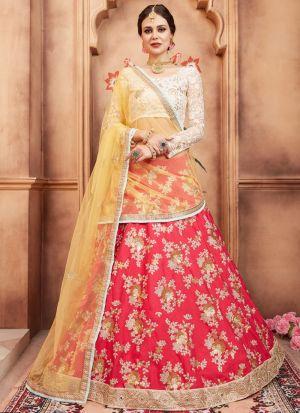 Pink Tafetta Silk Florals Vol 2 Designer Lehenga Choli