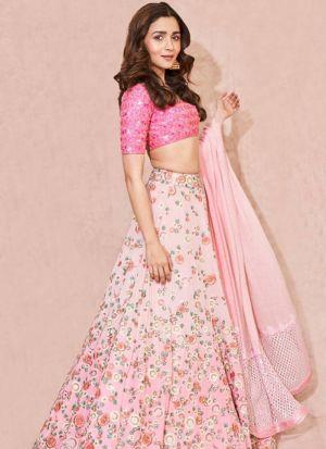 Pink Taffeta Silk Digital Printed Designer Lehenga Choli