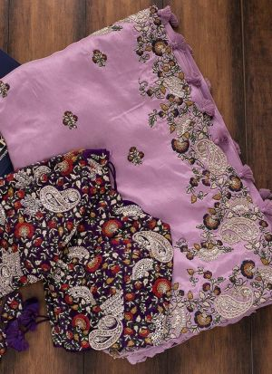 Pink Vichitra Silk embroidered saree