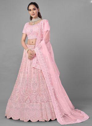 Pink Zarkan Work Bridal Lehenga Choli