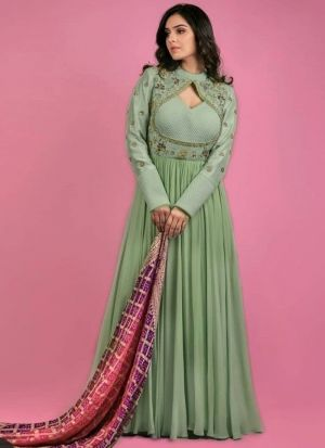 Pista Anarkali Gown With Digital Printed Dupatta