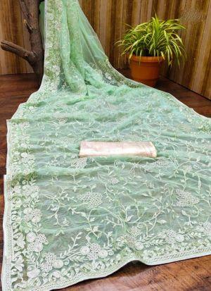 Pista Flower Embroidered Net Saree