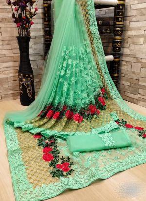 Pista Flower Embroidery Net Saree