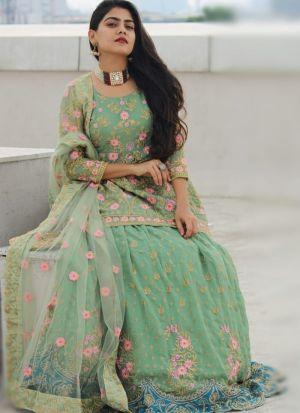 Pista Green Georgette Embroidery Lehenga