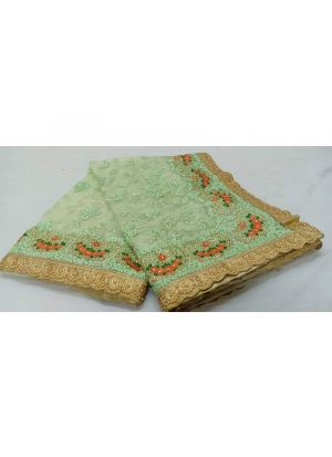 Pista Heavy Embroidery Traditional Soft Net Saree
