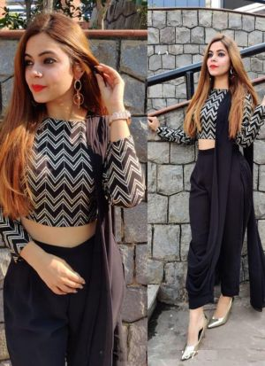 Plain Black Ready To Wear Saree
