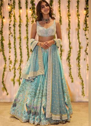 Pooja Hegde Style Digital Printed Sky Blue Lehenga Choli