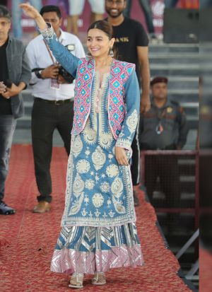 Powder Blue Digital Printed Bollywood Designer Palazzo Suit