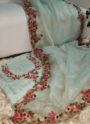 Powder Blue Organza Embroidery Saree