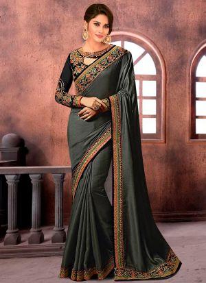 Prachi Desai Bollywood Repilca Charcoal Satin Chiffon Georgette Designer Saree